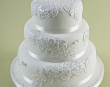 'White Lace' wedding cake - made using the 'Wild Rose' and 'Butterflies, Ladybirds & Bees' sets