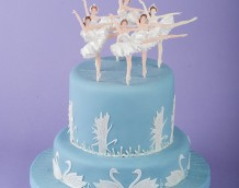 'Swan Lake Cake' - made using our 'Ballerina' and 'Swan Set' with the bullrushes from our 'Waterlily & Fish Set'