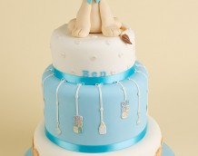 'Boys Birthday / Christening' cake - using our 'Baby Lion & Nursery Items' set